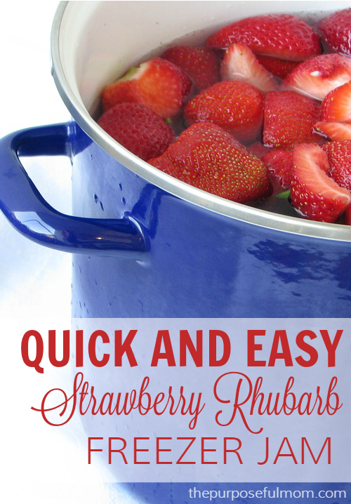 Make this quick and easy strawberry rhubarb freezer jam! Just three ...
