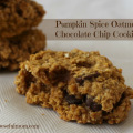 Pumpkin spice oatmeal chocolate chip cookies with Flax
