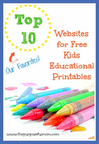 Top 10 websites for free kids educational printables