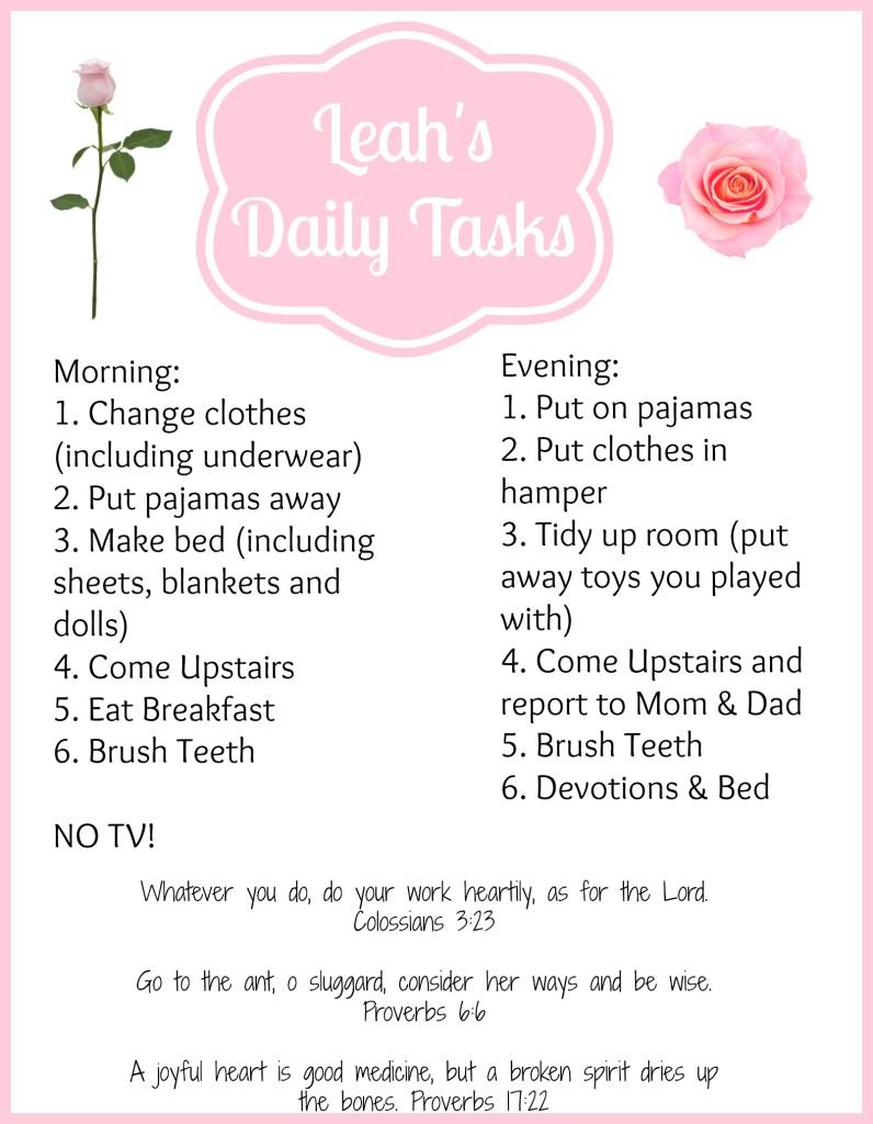 leah's tasks