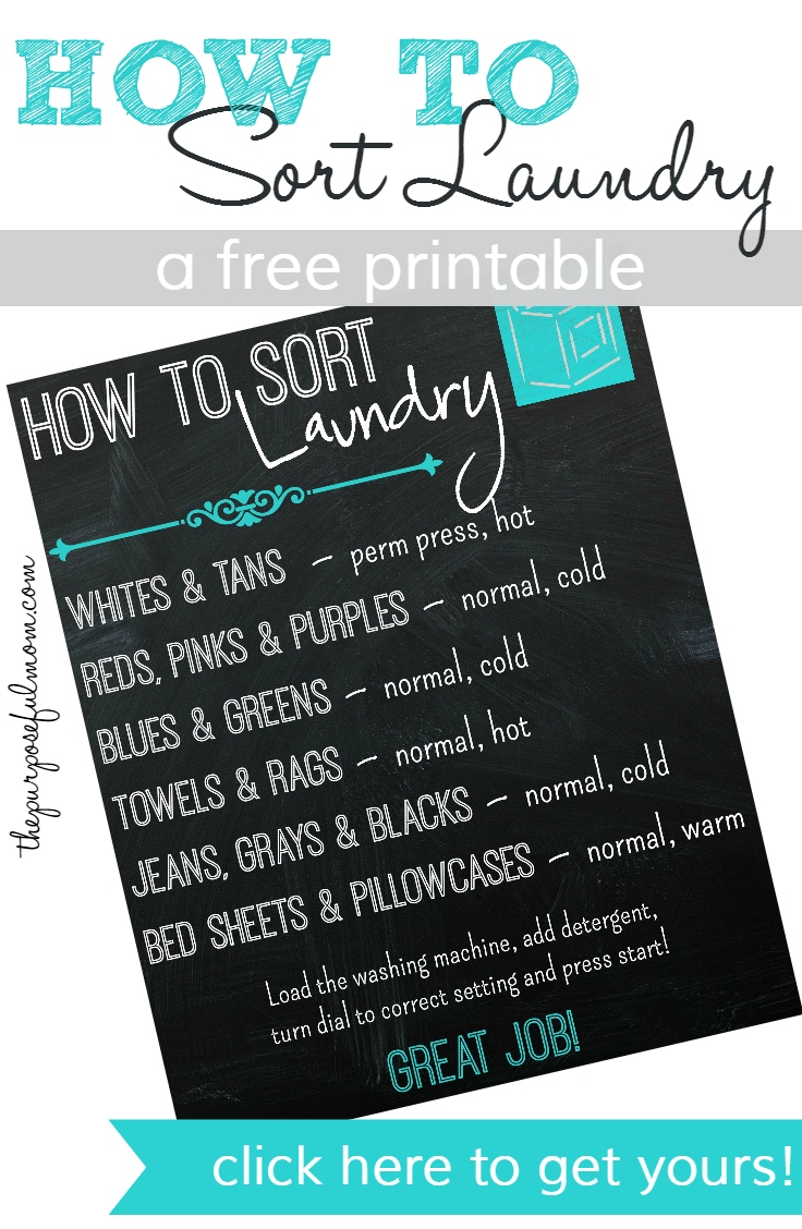 How to Sort Laundry, a Free Printable for Your Kids