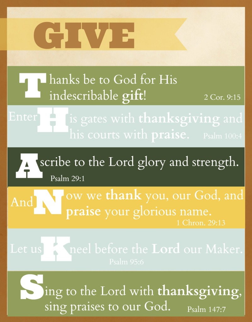 Give Thanks Scripture Free Printable for Thanksgiving