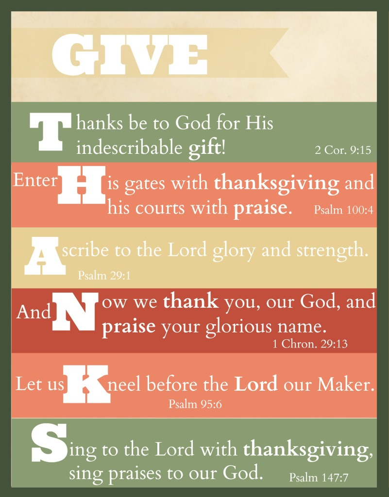 Give Thanks Scripture Printable (Free!) for Thanksgiving