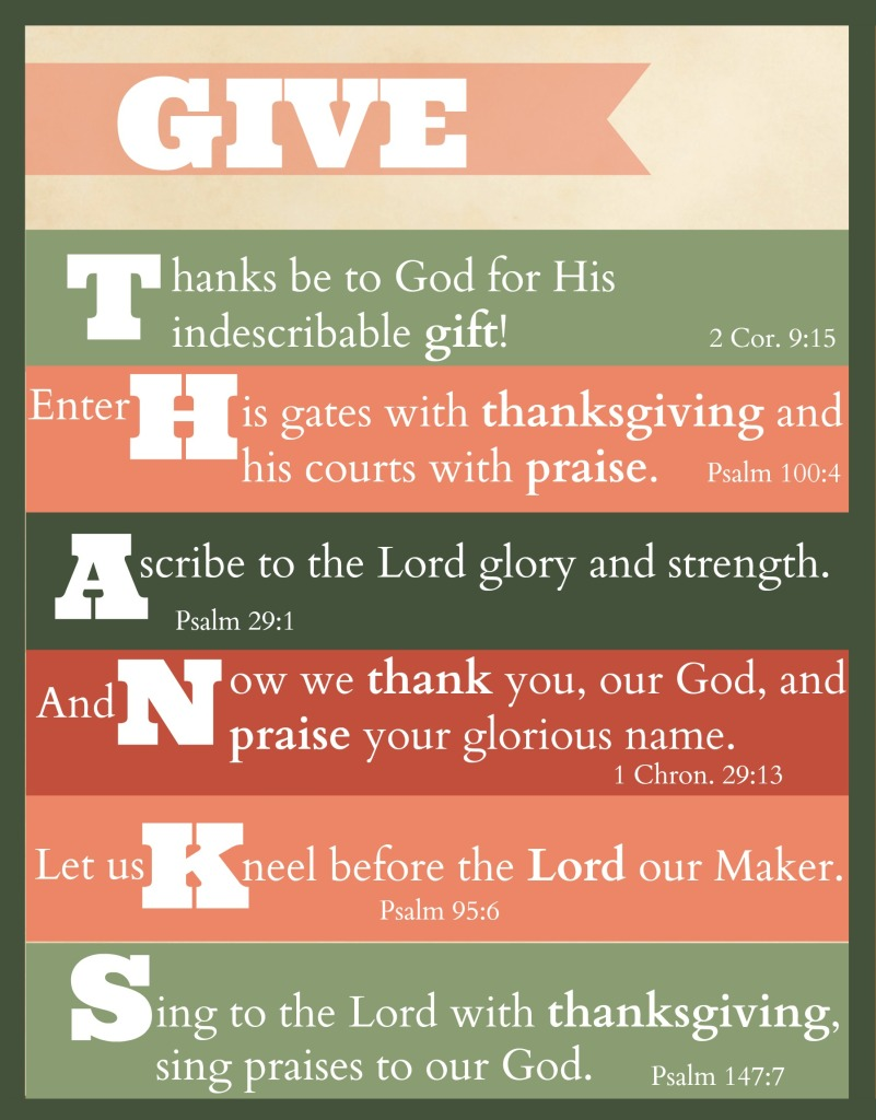 Give Thanks Bible Verse Free Printables