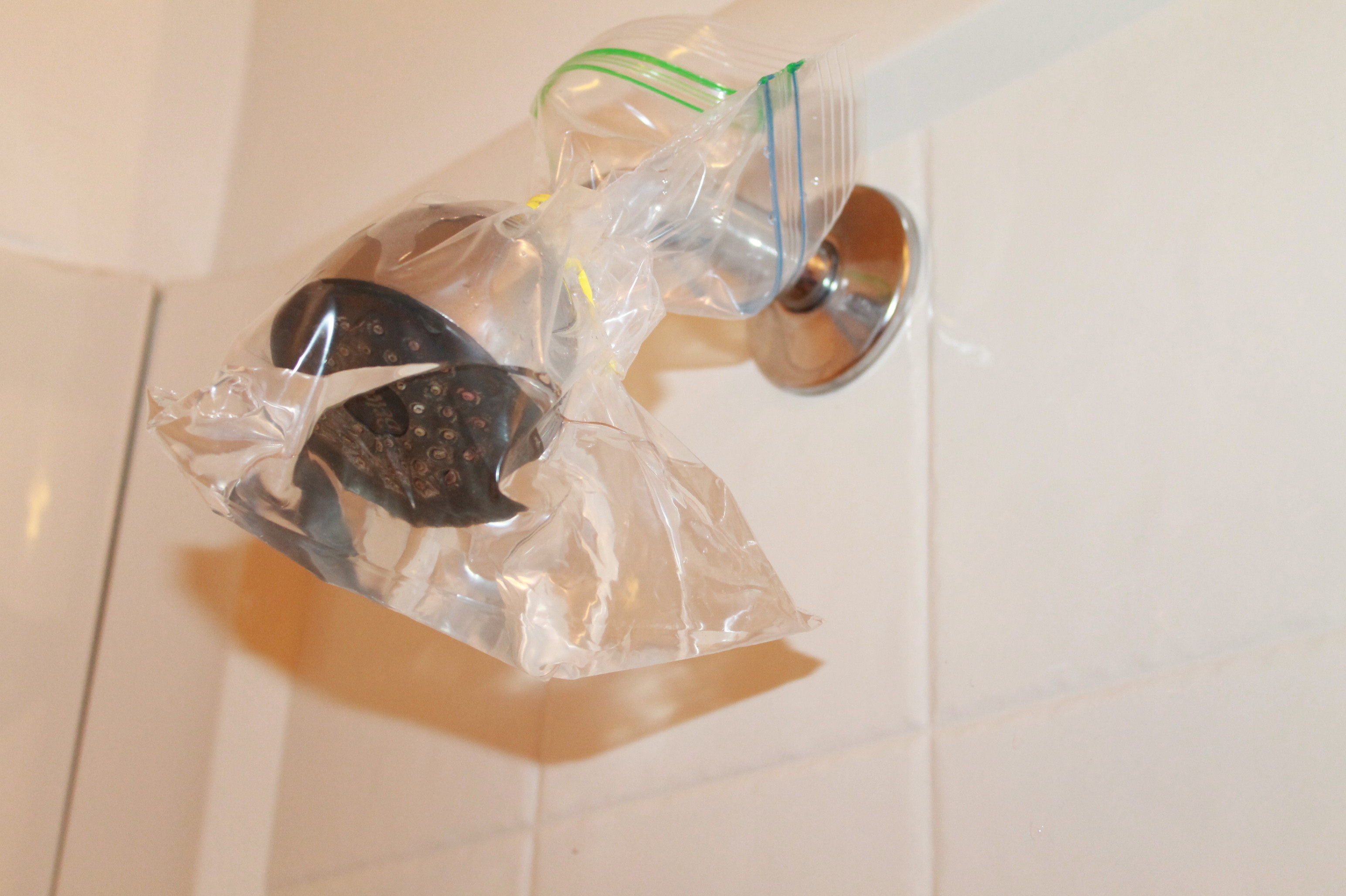 I Actually Put In Too Much Vinegar Initially And Because I Really Sealed  Off The Bag Well, The Shower Head Actually Sucked The Vinegar Up Into The  Spout!