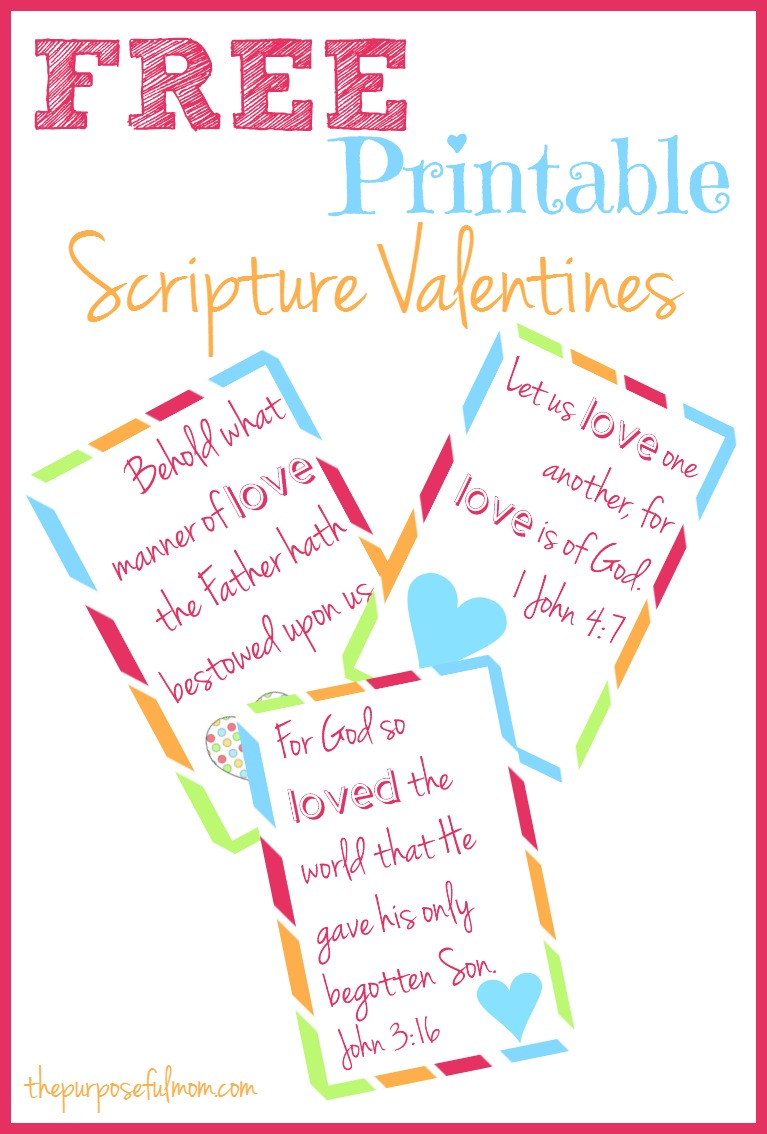 Get your free printable Scripture Valentines for kids! Use these Valentines to bless someone with a reminder of God's love!
