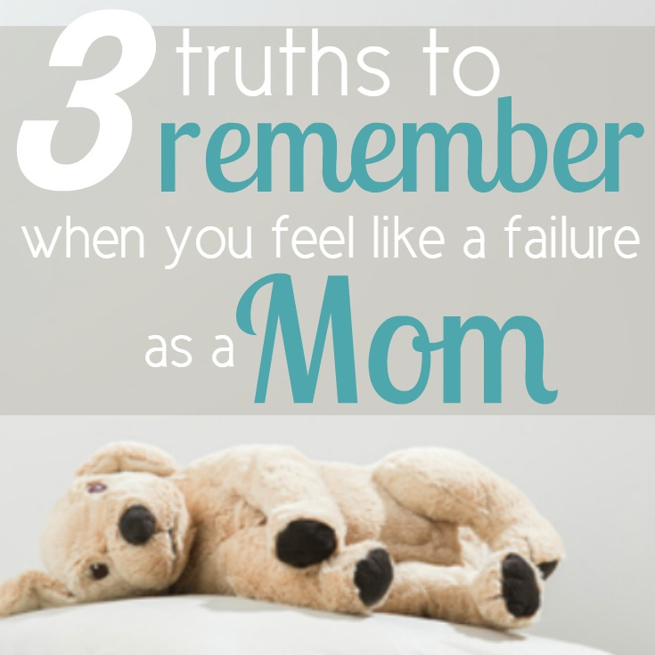 Every mother has days when they feel like they're not enough or that they've let their children down in some way. I know that's what I've been going through lately! But there is hope, fellow moms! Be encouraged with these 3 truths you can call to mind and remember when you feel like a failure as a mom.