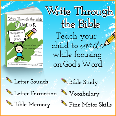 With Write Through the Bible Junior you can teach your kids handwriting, letter sounds and God's word at the same time!
