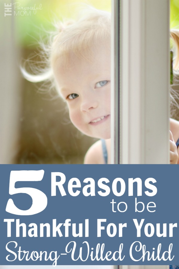 5 reasons to be thankful for your strong willed child! Encouragement for motherhood when your stubborn child tests your patience!