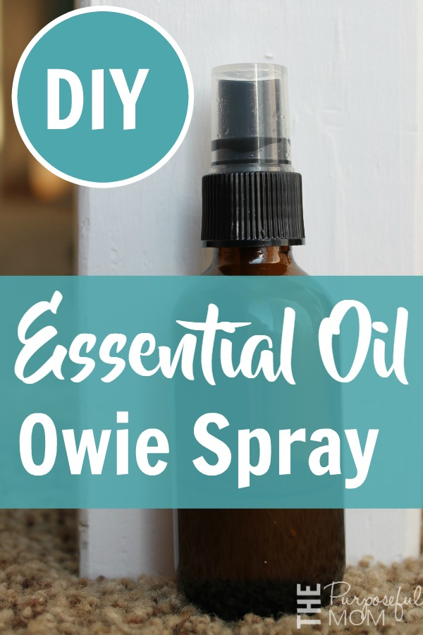 This essential oil owie spray is great for scrapes, bruises and bug bites. A natural way to help your kids heal! Antibacterial and antiviral oils are used in this easy recipe. Great for adults too!
