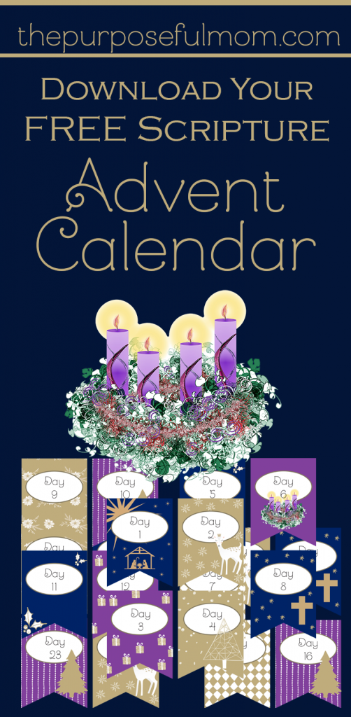 Download your free Scripture Advent printable calendar! With a bunting and a verse for each day, your family can keep the focus on Jesus during this season!