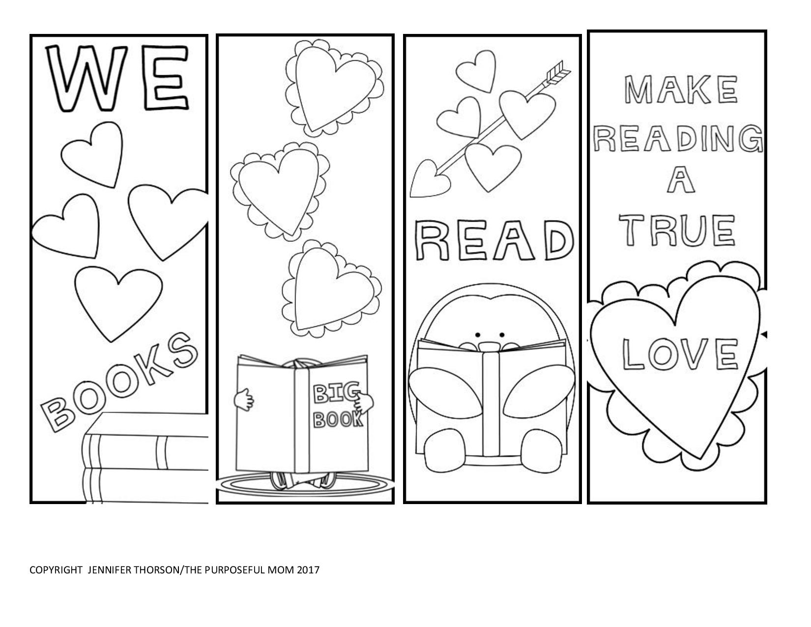free valentine 39 s day bookmarks to color the purposeful mom. Black Bedroom Furniture Sets. Home Design Ideas