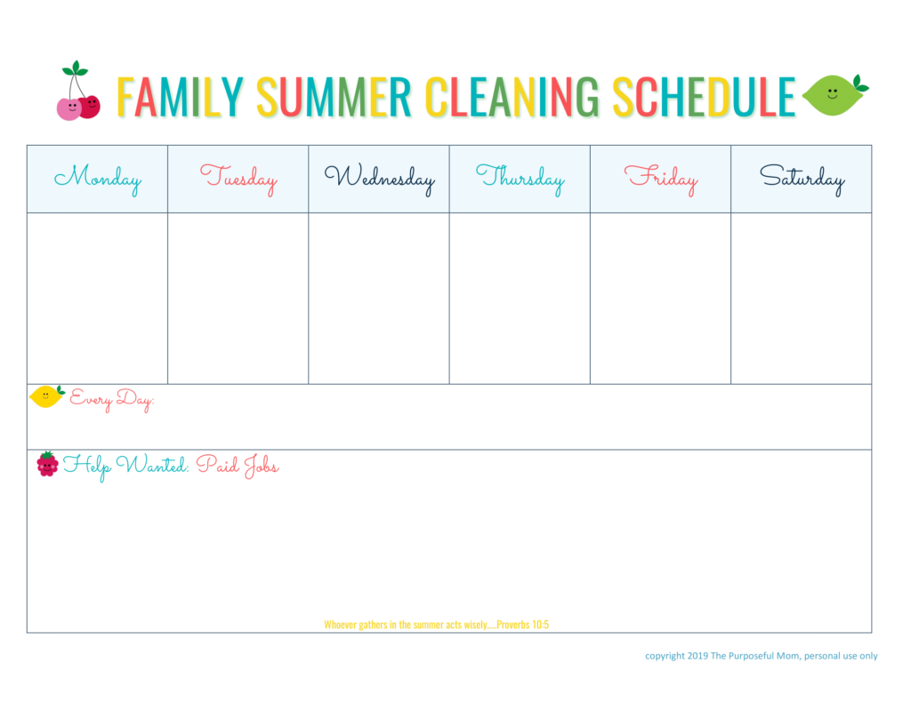 image about Summer Chore Chart Printable titled Spouse and children Summertime Cleansing Program Absolutely free Printable - The