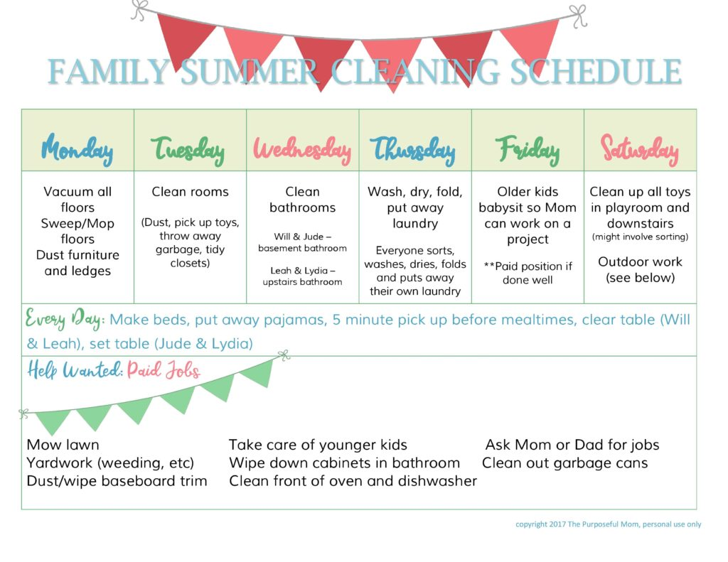 graphic regarding Summer Chore Chart Printable identified as Loved ones Summer season Cleansing Timetable Cost-free Printable - The