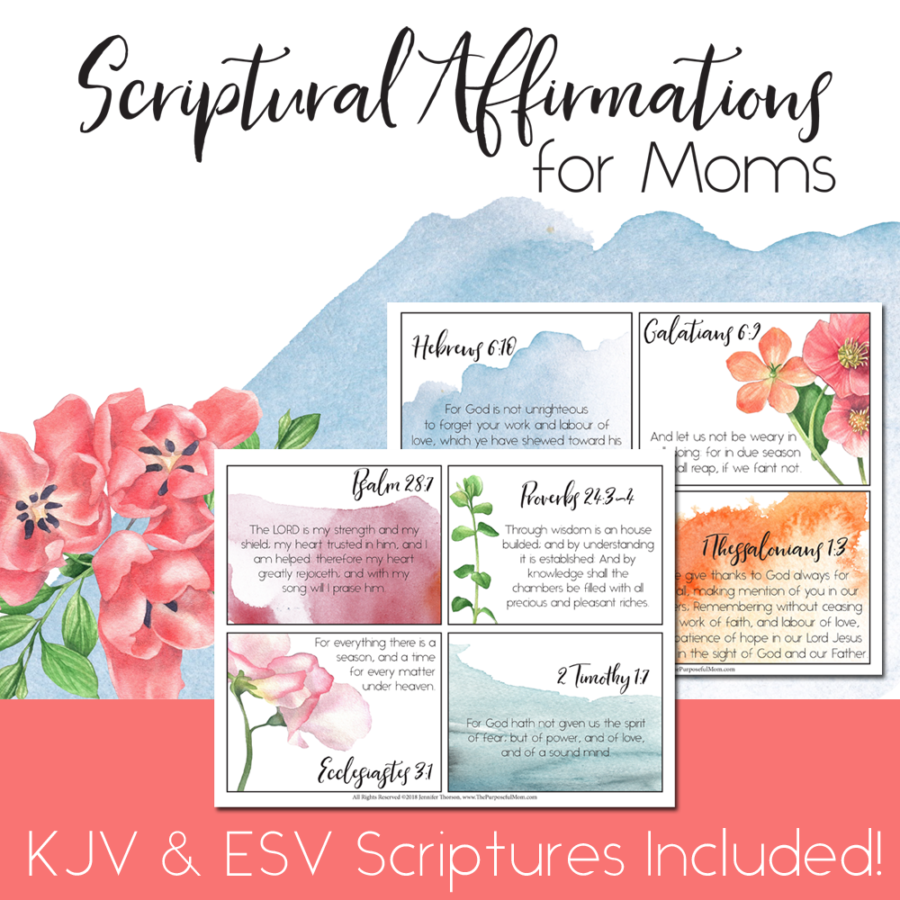 Scriptural Affirmations for Moms with Printable Floral Watercolor Notecards