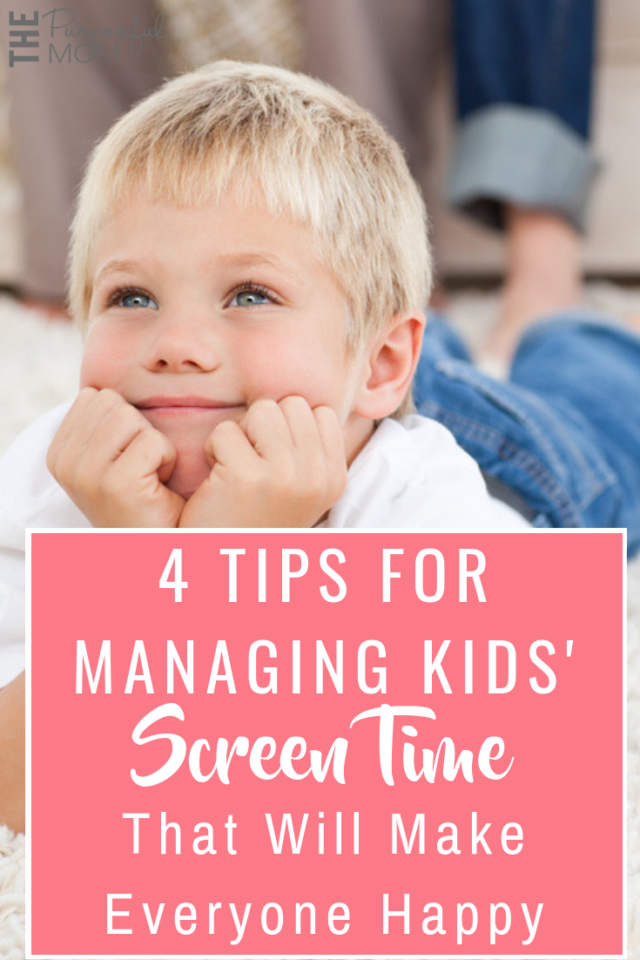 Four ideas for managing screen time that will make everyone happy! These tips will help you teach your kids to use technology wisely and you as a parent to use screen time for good!