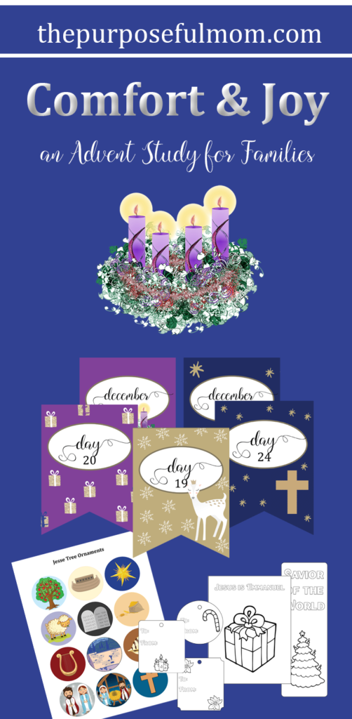 Comfort and Joy: An Advent Study for Families that helps you have a Christ-centered holiday season, with devotions, activities and service ideas for you and your children!