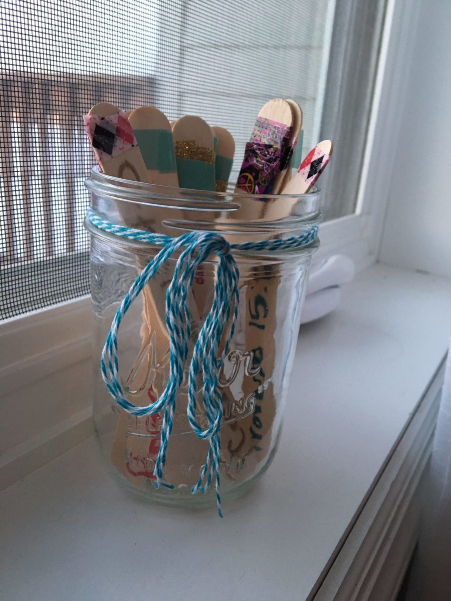Bible verses in a Jar memory activity with popsicle sticks