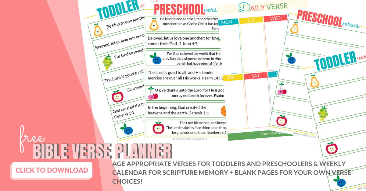 memory verses for toddlers and preschoolers