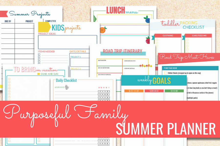 purposeful family summer printable planner
