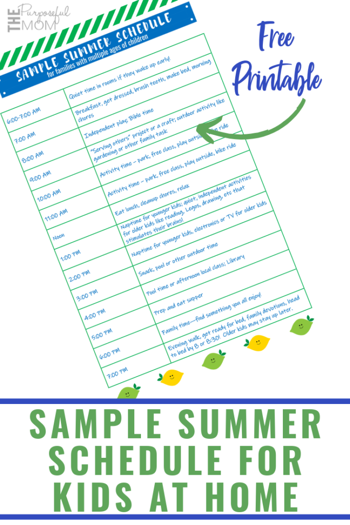 blank summer schedule for kids at home